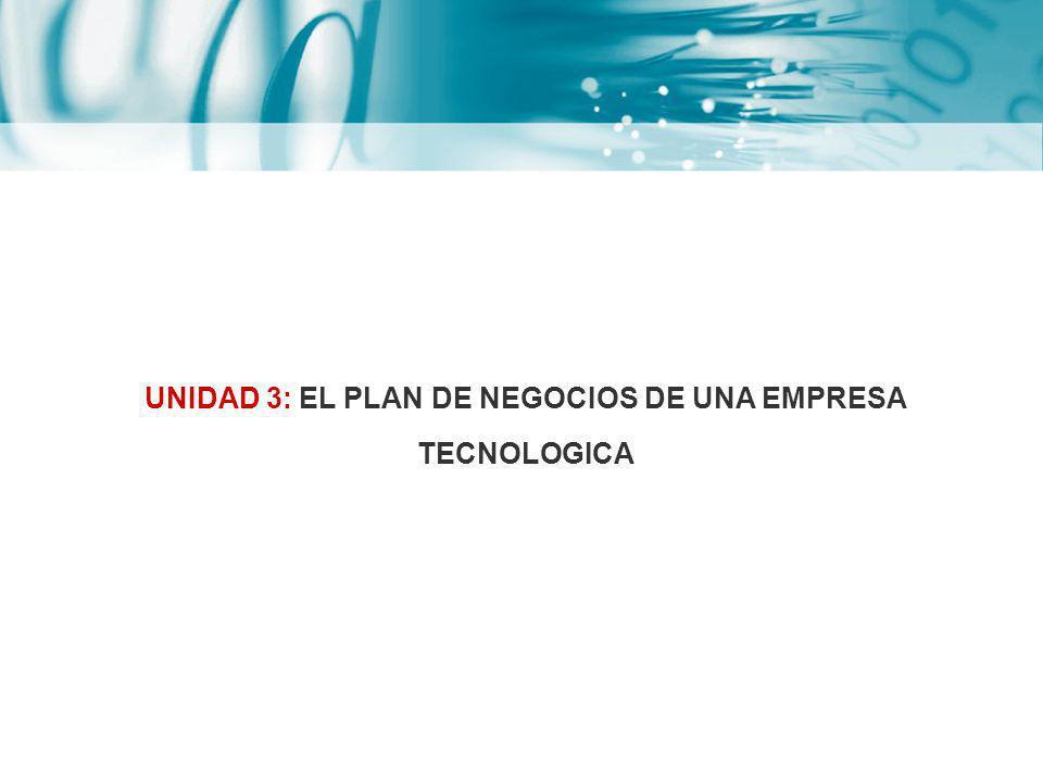 UNIDAD 3: EL PLAN DE NEGOCIOS DE UNA EMPRESA TECNOLOGICA