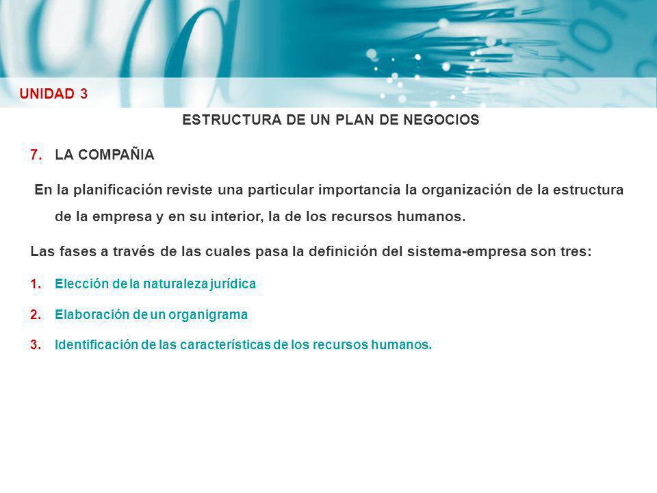 ESTRUCTURA DE UN PLAN DE NEGOCIOS 7.LA COMPAÑIA En la planificación reviste una particular importancia la organización de la estructura de la empresa