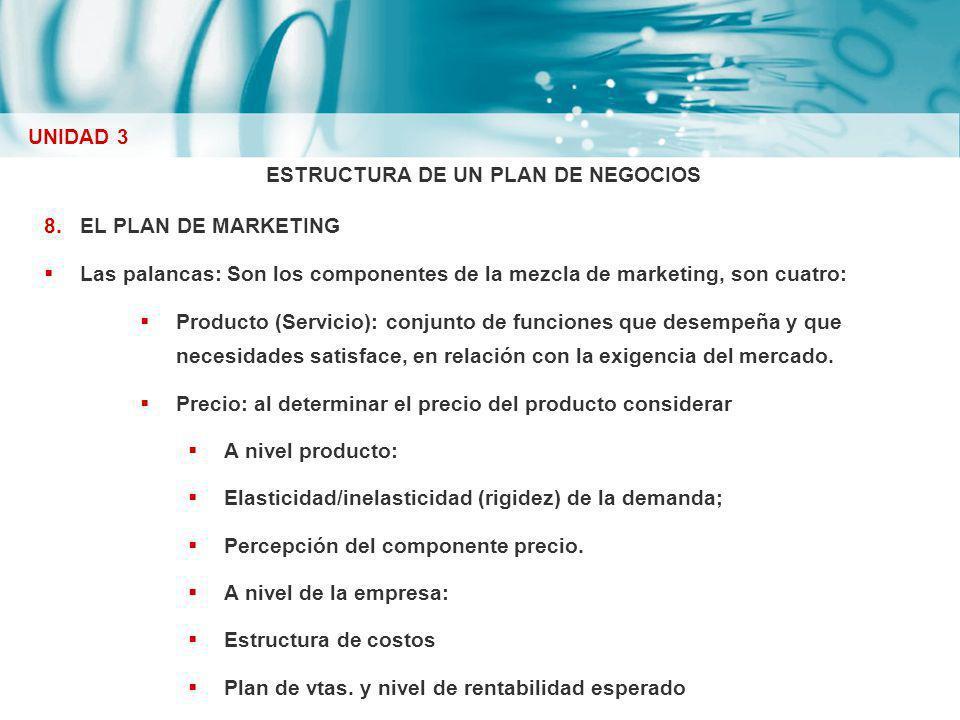 ESTRUCTURA DE UN PLAN DE NEGOCIOS 8.EL PLAN DE MARKETING Las palancas: Son los componentes de la mezcla de marketing, son cuatro: Producto (Servicio):