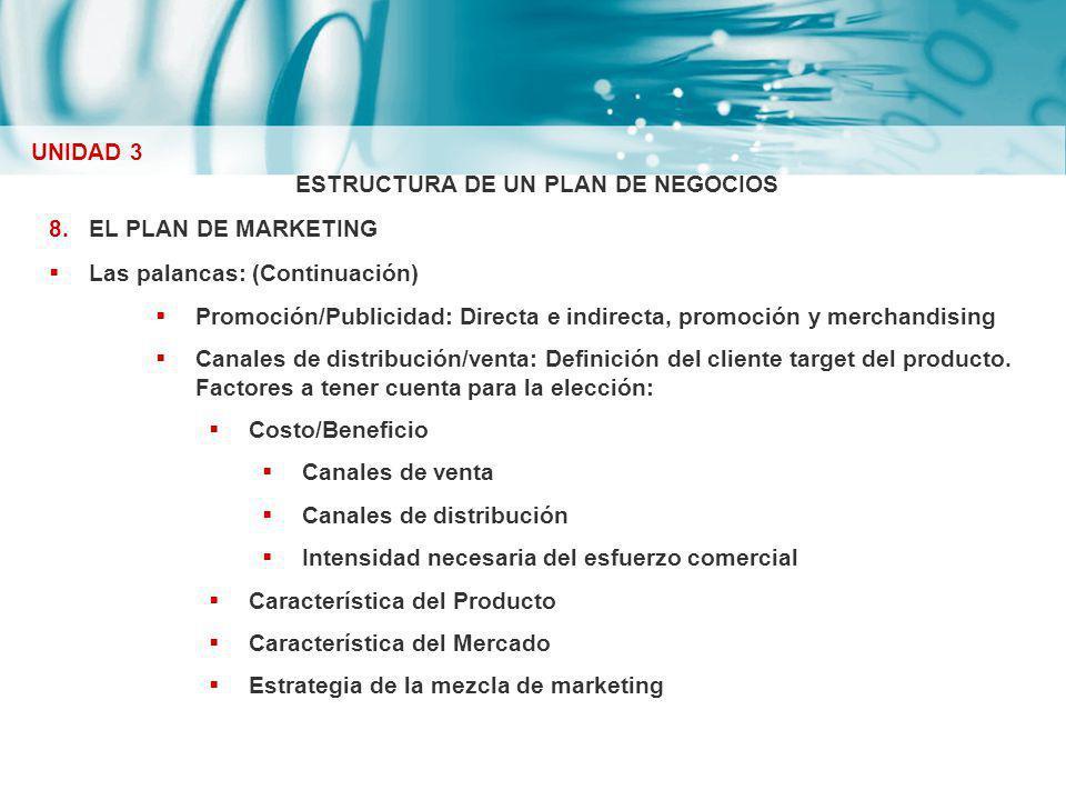 ESTRUCTURA DE UN PLAN DE NEGOCIOS 8.EL PLAN DE MARKETING Las palancas: (Continuación) Promoción/Publicidad: Directa e indirecta, promoción y merchandi