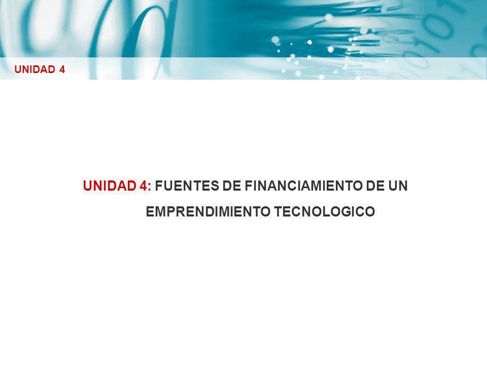 UNIDAD 4: FUENTES DE FINANCIAMIENTO DE UN EMPRENDIMIENTO TECNOLOGICO UNIDAD 4