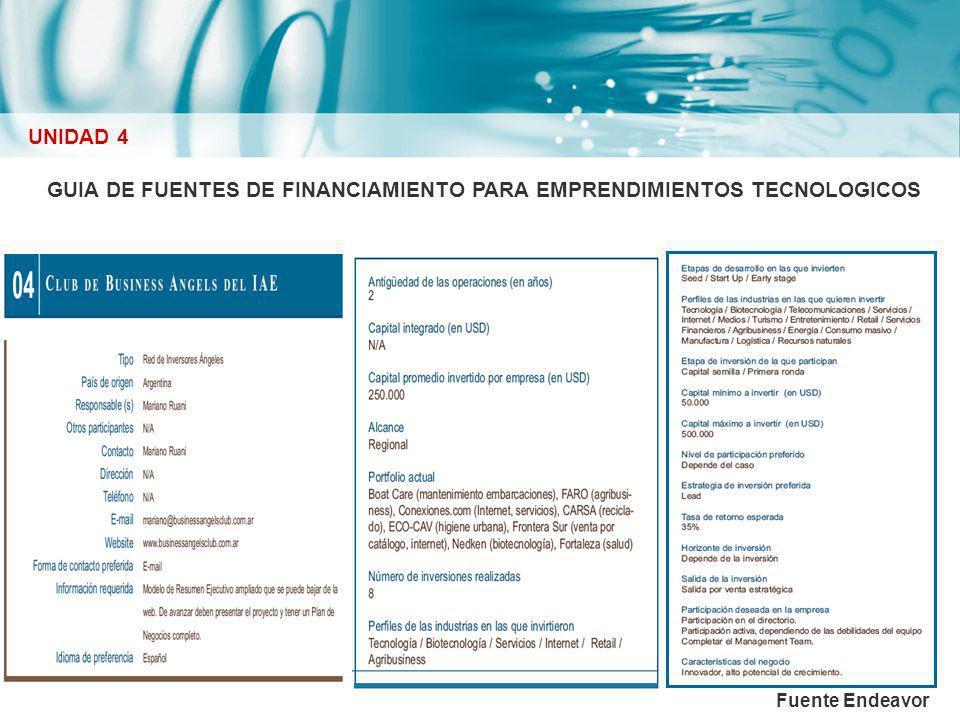 GUIA DE FUENTES DE FINANCIAMIENTO PARA EMPRENDIMIENTOS TECNOLOGICOS UNIDAD 4 Fuente Endeavor