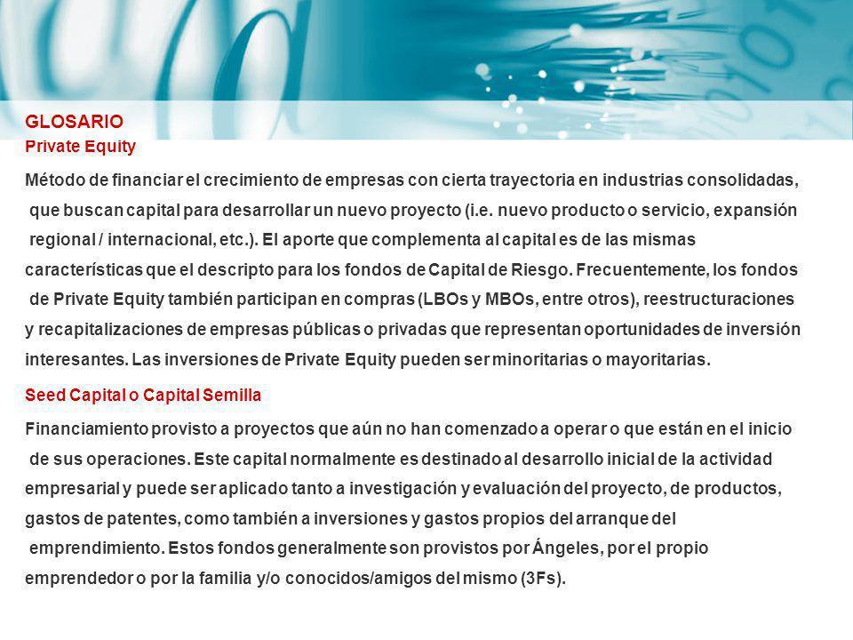 Private Equity Método de financiar el crecimiento de empresas con cierta trayectoria en industrias consolidadas, que buscan capital para desarrollar u