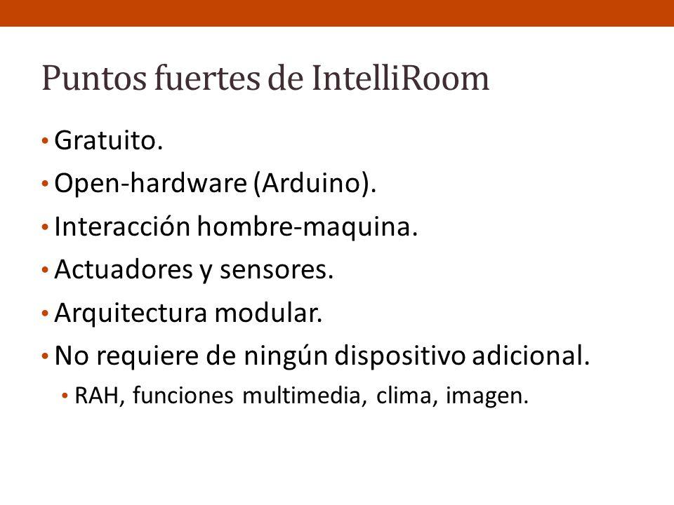 Puntos fuertes de IntelliRoom Gratuito. Open-hardware (Arduino). Interacción hombre-maquina. Actuadores y sensores. Arquitectura modular. No requiere