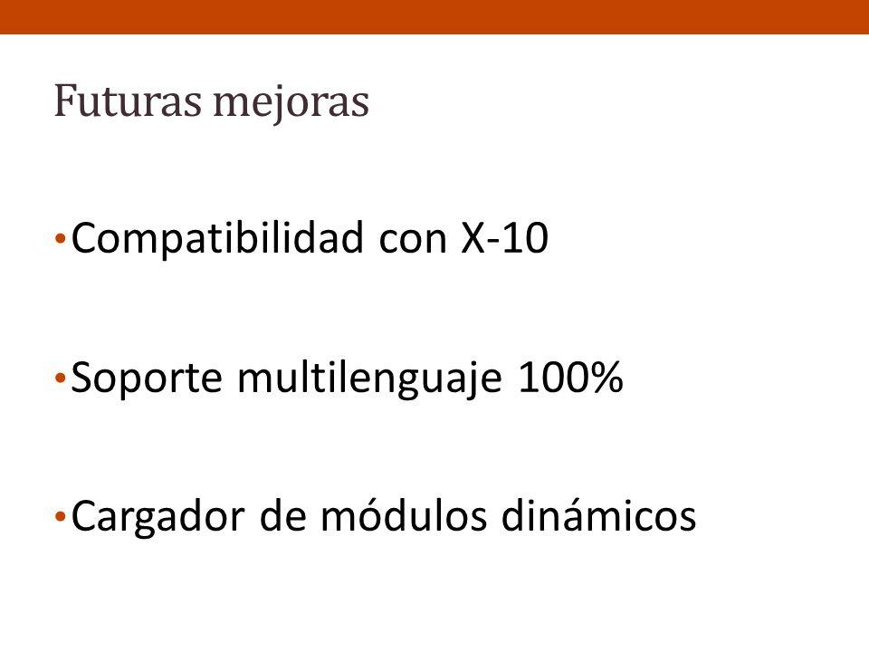 Futuras mejoras Compatibilidad con X-10 Soporte multilenguaje 100% Cargador de módulos dinámicos