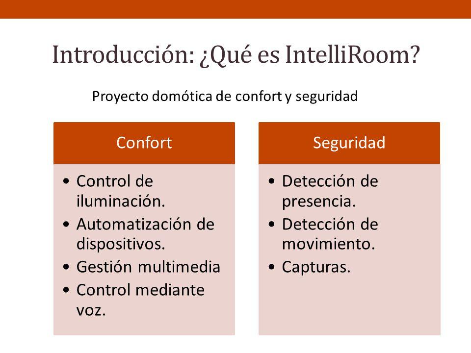 Introducción: ¿Qué es IntelliRoom? Proyecto domótica de confort y seguridad Confort Control de iluminación. Automatización de dispositivos. Gestión mu