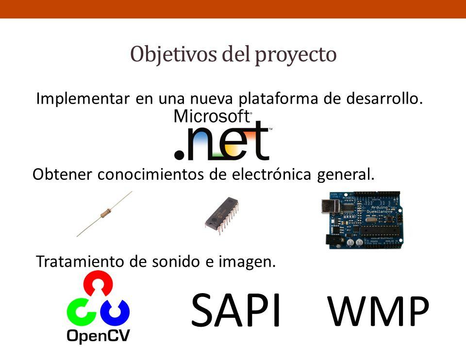 Objetivos del proyecto Obtener conocimientos de electrónica general. Tratamiento de sonido e imagen. SAPI WMP Implementar en una nueva plataforma de d
