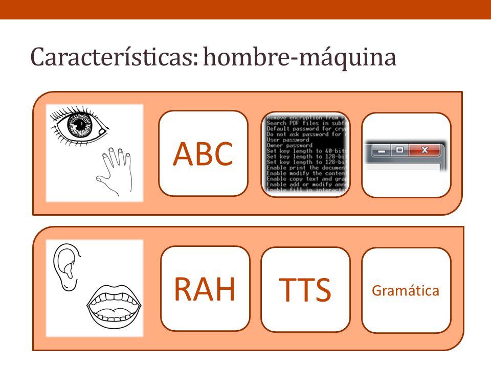 Características: hombre-máquina RAH TTS Gramática ABC