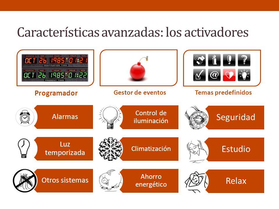 Características avanzadas: los activadores Programador Gestor de eventos Temas predefinidos Alarmas Luz temporizada Otros sistemas Control de iluminac