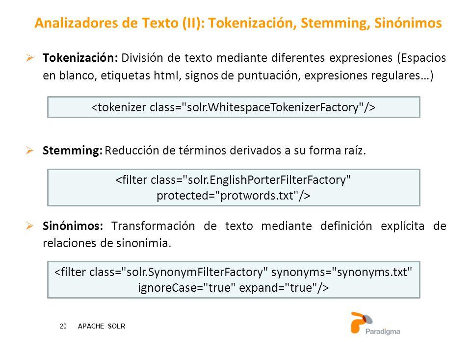 20 APACHE SOLR Tokenización: División de texto mediante diferentes expresiones (Espacios en blanco, etiquetas html, signos de puntuación, expresiones regulares…) Stemming: Reducción de términos derivados a su forma raíz.