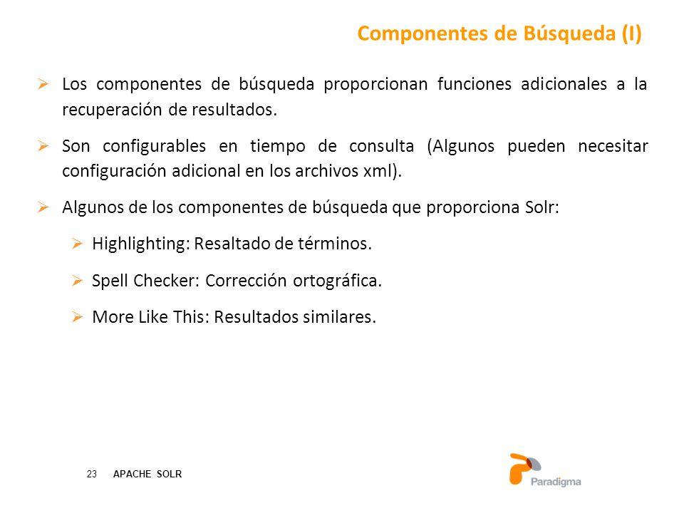 23 APACHE SOLR Los componentes de búsqueda proporcionan funciones adicionales a la recuperación de resultados.