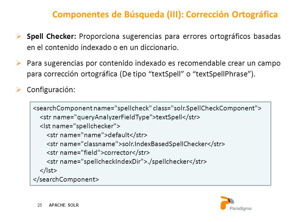 25 APACHE SOLR Spell Checker: Proporciona sugerencias para errores ortográficos basadas en el contenido indexado o en un diccionario.
