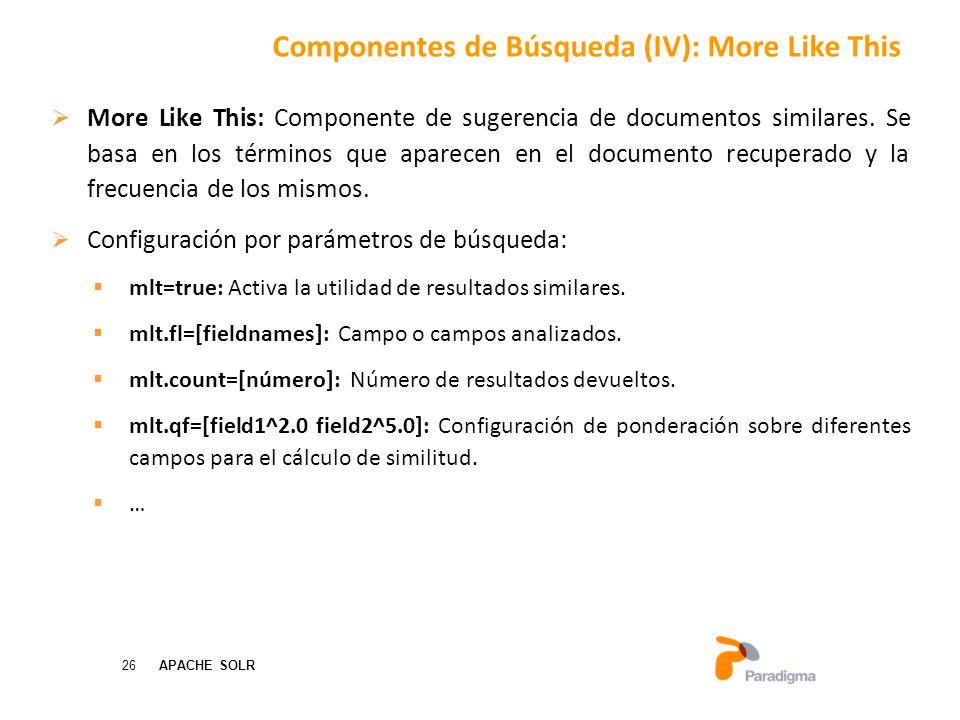 26 APACHE SOLR More Like This: Componente de sugerencia de documentos similares.