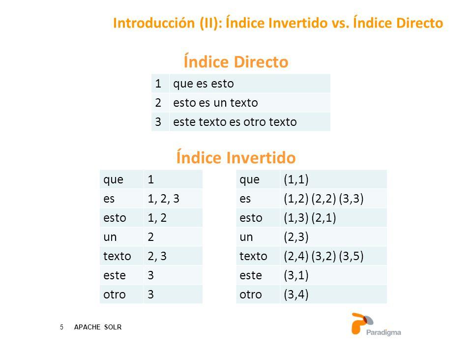 5 APACHE SOLR Índice Directo Índice Invertido Introducción (II): Índice Invertido vs.