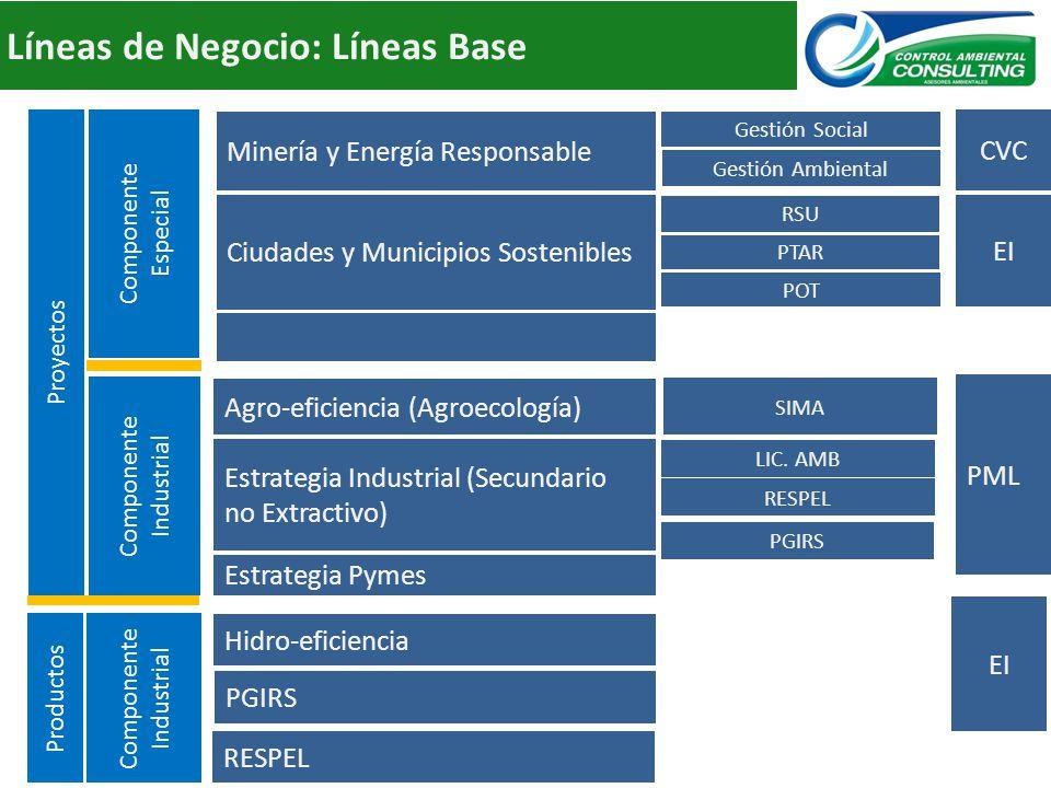Líneas de Negocio: Líneas Base Estrategia Pymes Estrategia Industrial (Secundario no Extractivo) Agro-eficiencia (Agroecología) Componente Industrial Minería y Energía Responsable Evolución IndustrialMadurez del Negocio Capacidad Interna de Recursos Componente Especial Hidro-eficiencia RSU Componente Industrial Ciudades y Municipios Sostenibles PGIRS Proyectos Productos PTAR POT LIC.