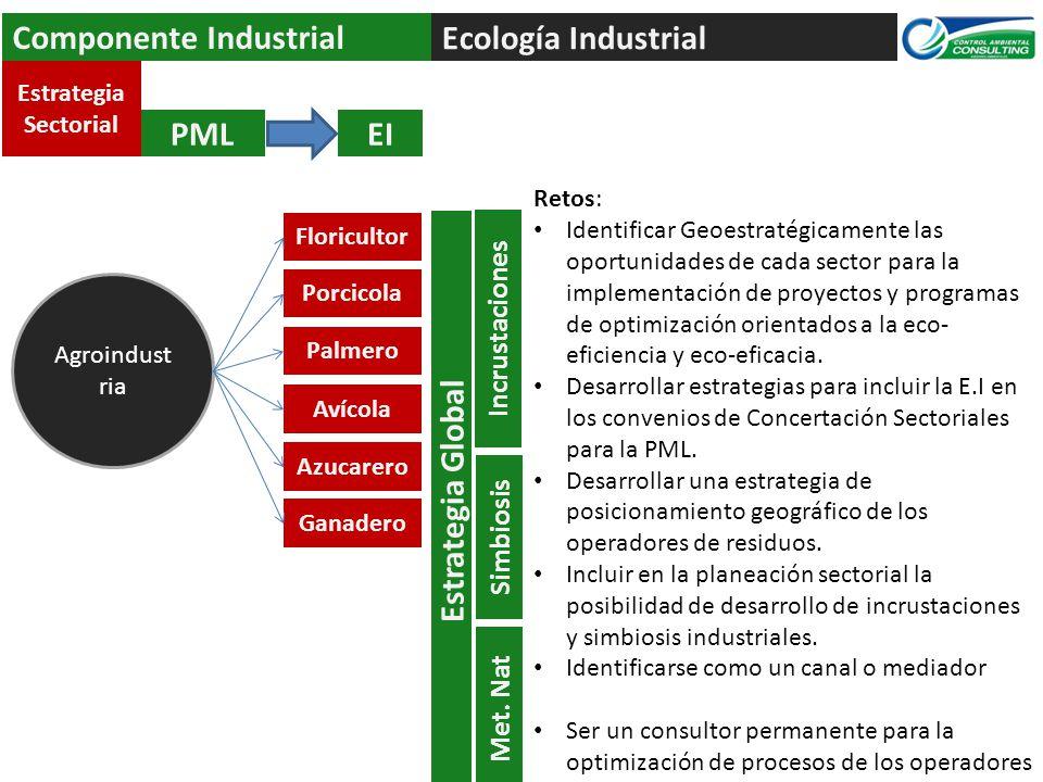 Ecología Industrial Componente Industrial PMLEI Agroindust ria Estrategia Sectorial Floricultor Porcicola Azucarero Ganadero Avícola Palmero Retos: Id