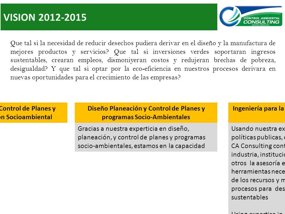 VISION 2012-2015 Que tal si la necesidad de reducir desechos pudiera derivar en el diseño y la manufactura de mejores productos y servicios.