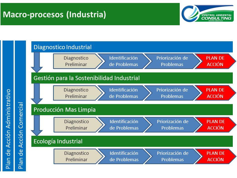 Macro-procesos (Industria) Ecología Industrial Producción Mas Limpia Identificación de Problemas Priorización de Problemas PLAN DE ACCIÓN Diagnostico