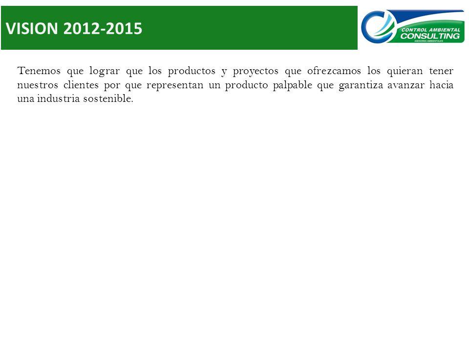VISION 2012-2015 Tenemos que lograr que los productos y proyectos que ofrezcamos los quieran tener nuestros clientes por que representan un producto palpable que garantiza avanzar hacia una industria sostenible.