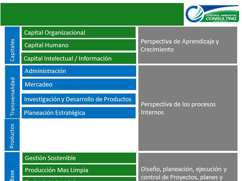Transversalidad Líneas Base Capitales Productos Capital Organizacional Capital Humano Capital Intelectual / Información Administración Mercadeo Invest