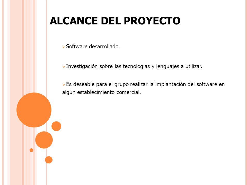 Software desarrollado. Investigación sobre las tecnologías y lenguajes a utilizar.