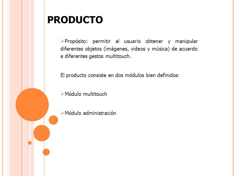 PRODUCTO Propósito: permitir al usuario obtener y manipular diferentes objetos (imágenes, videos y música) de acuerdo a diferentes gestos multitouch.