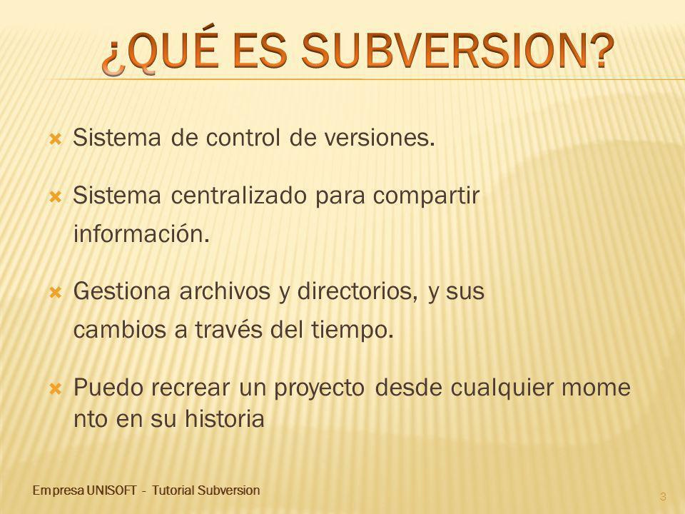 Sistema de control de versiones. Sistema centralizado para compartir información.