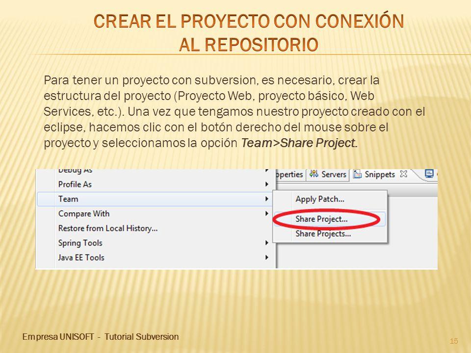 Empresa UNISOFT - Tutorial Subversion 15 Para tener un proyecto con subversion, es necesario, crear la estructura del proyecto (Proyecto Web, proyecto