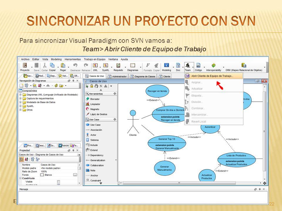 22 Para sincronizar Visual Paradigm con SVN vamos a: Team> Abrir Cliente de Equipo de Trabajo