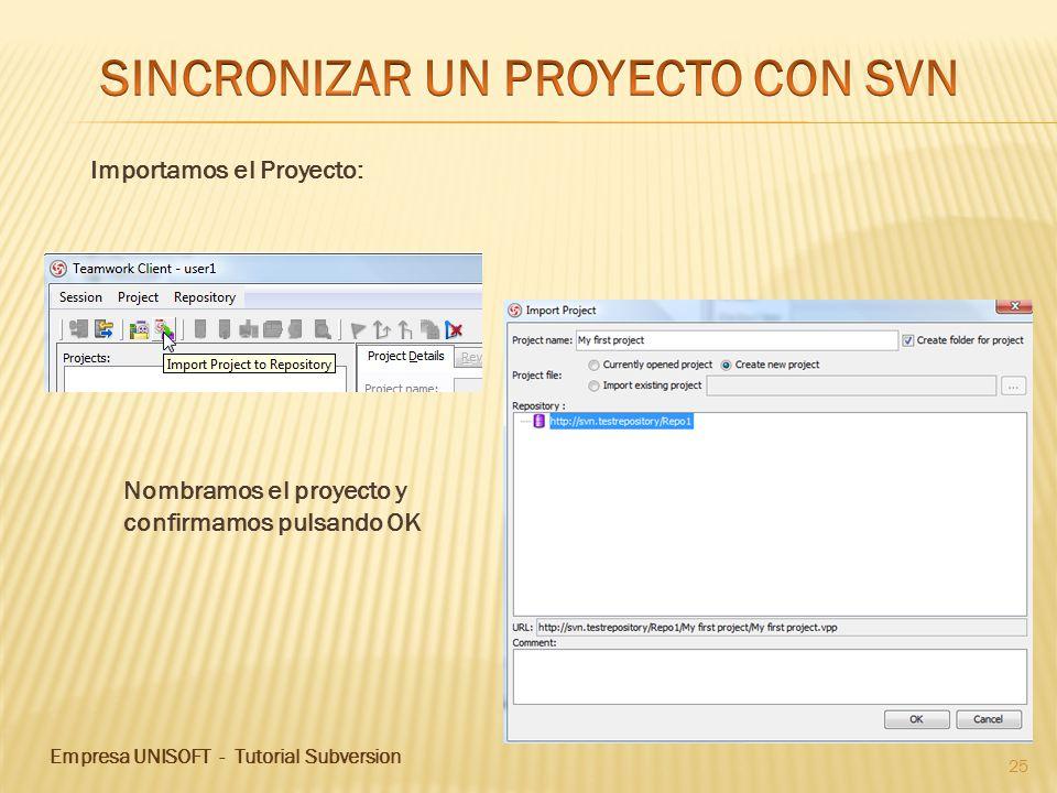 Empresa UNISOFT - Tutorial Subversion 25 Nombramos el proyecto y confirmamos pulsando OK Importamos el Proyecto: