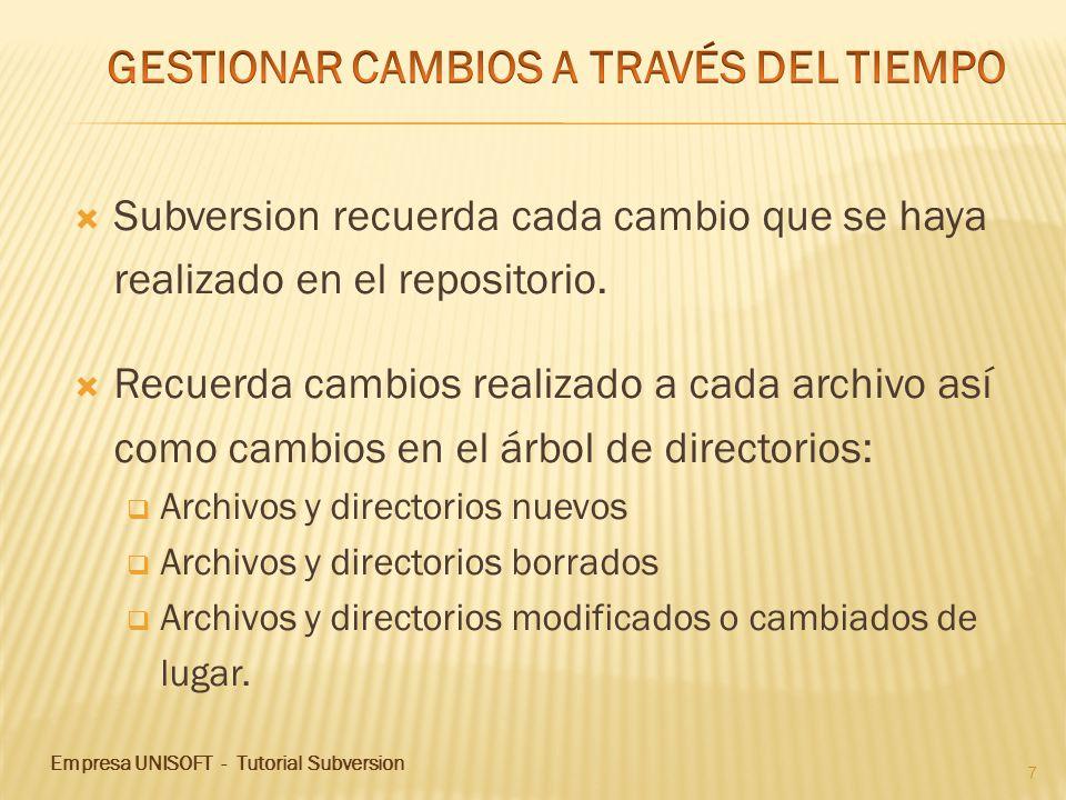 7 Subversion recuerda cada cambio que se haya realizado en el repositorio. Recuerda cambios realizado a cada archivo así como cambios en el árbol de d