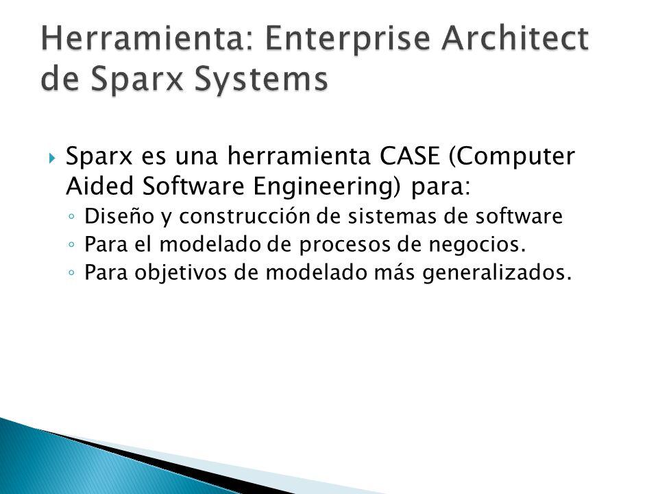 Sparx es una herramienta CASE (Computer Aided Software Engineering) para: Diseño y construcción de sistemas de software Para el modelado de procesos d