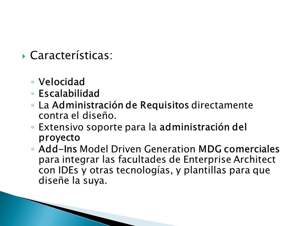 Características: Velocidad Escalabilidad La Administración de Requisitos directamente contra el diseño. Extensivo soporte para la administración del p