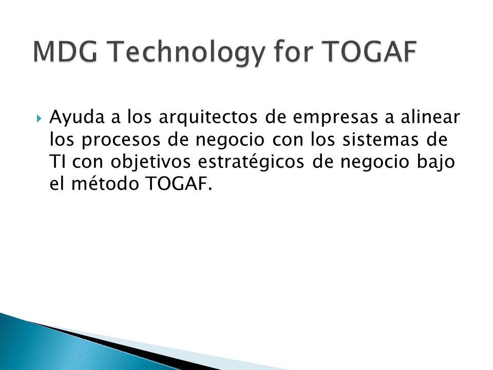 Ayuda a los arquitectos de empresas a alinear los procesos de negocio con los sistemas de TI con objetivos estratégicos de negocio bajo el método TOGA