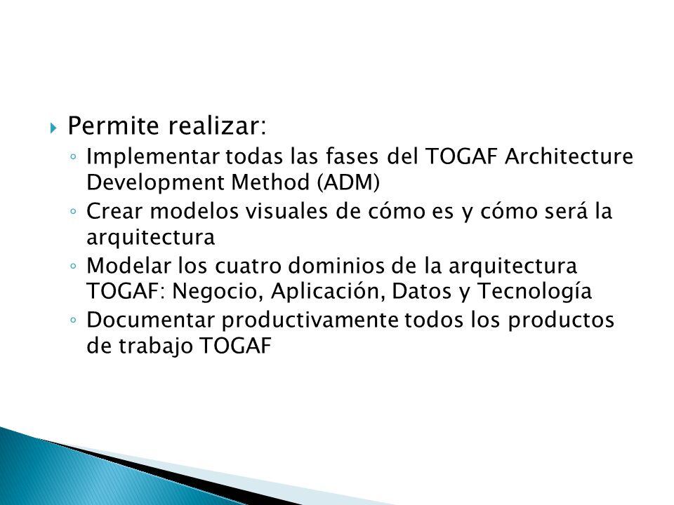 Permite realizar: Implementar todas las fases del TOGAF Architecture Development Method (ADM) Crear modelos visuales de cómo es y cómo será la arquite