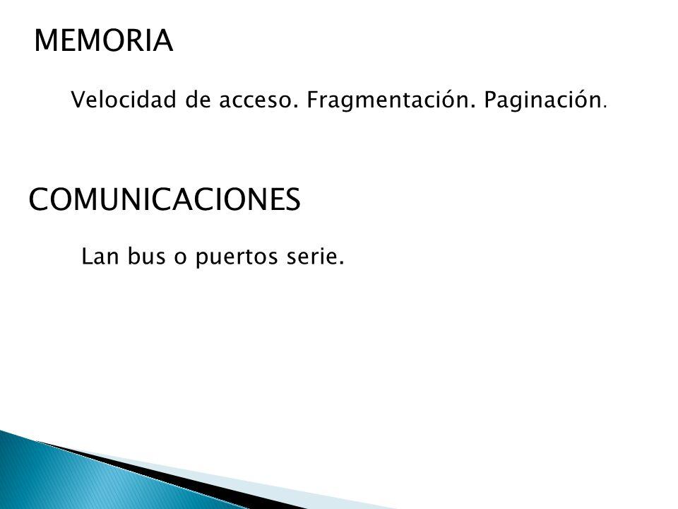 MEMORIA Velocidad de acceso. Fragmentación. Paginación. COMUNICACIONES Lan bus o puertos serie.
