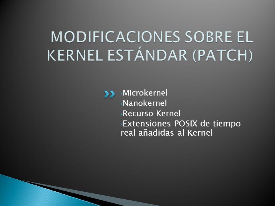 Microkernel Nanokernel Recurso Kernel Extensiones POSIX de tiempo real añadidas al Kernel