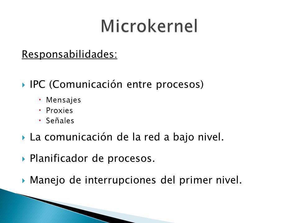 Responsabilidades: IPC (Comunicación entre procesos) Mensajes Proxies Señales La comunicación de la red a bajo nivel. Planificador de procesos. Manejo