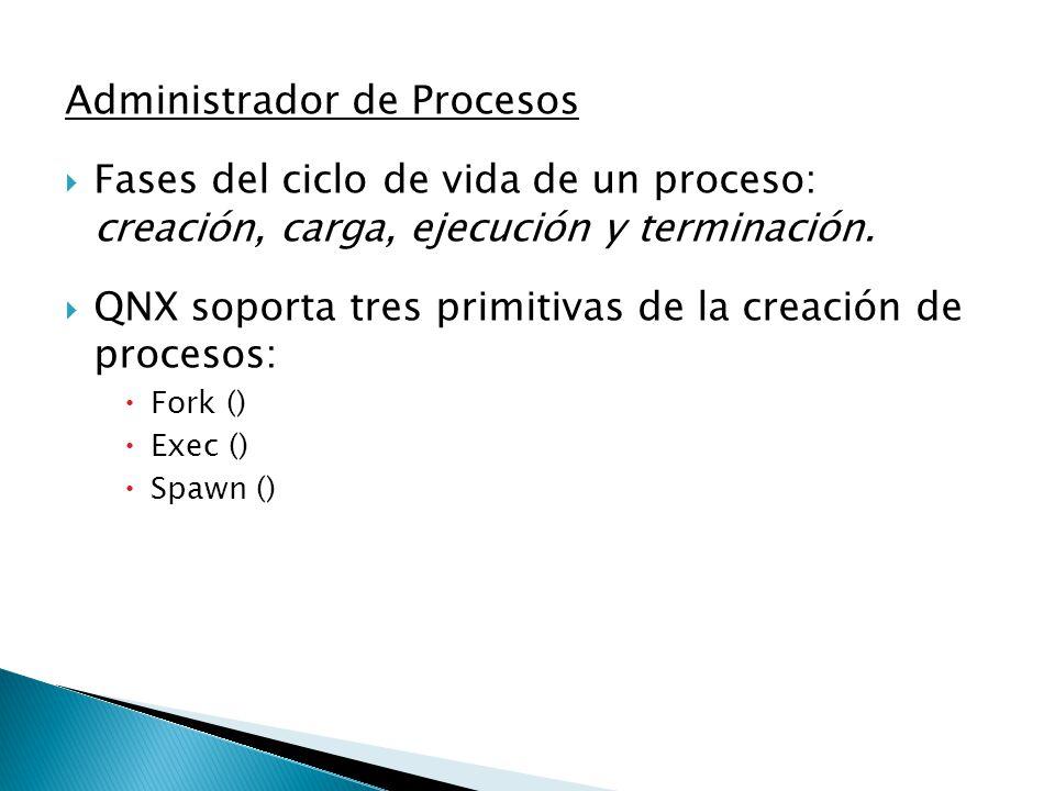 Administrador de Procesos Fases del ciclo de vida de un proceso: creación, carga, ejecución y terminación. QNX soporta tres primitivas de la creación