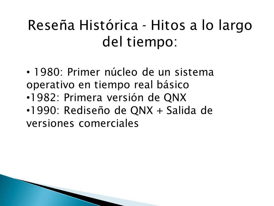 Reseña Histórica - Hitos a lo largo del tiempo: 1980: Primer núcleo de un sistema operativo en tiempo real básico 1982: Primera versión de QNX 1990: R