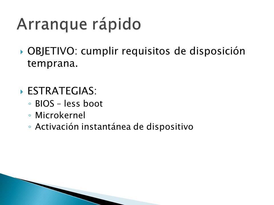 OBJETIVO: cumplir requisitos de disposición temprana. ESTRATEGIAS: BIOS – less boot Microkernel Activación instantánea de dispositivo