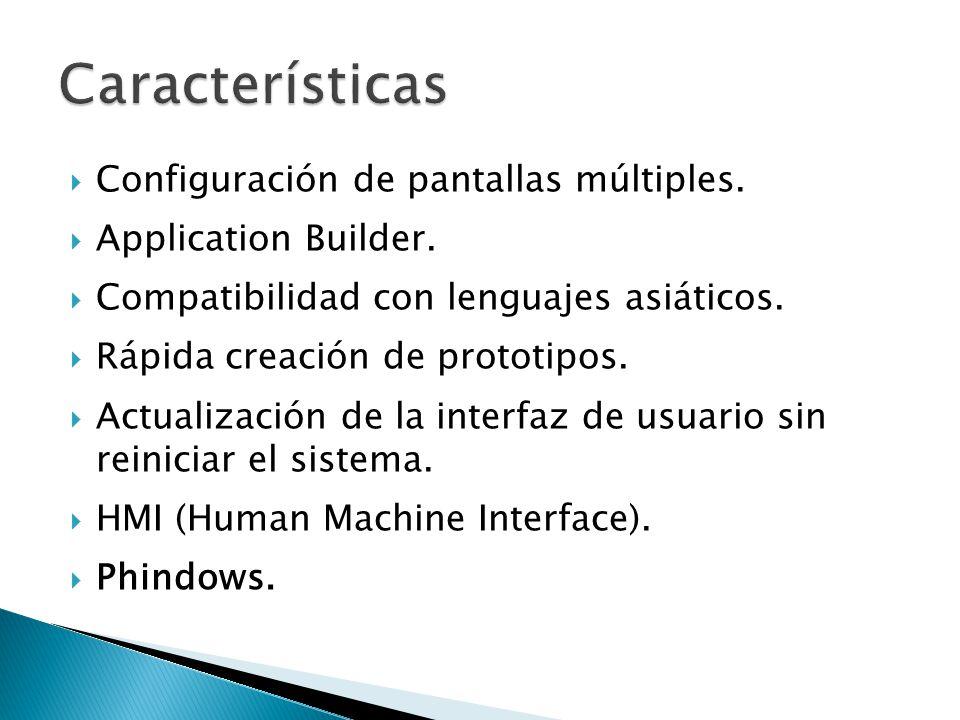Configuración de pantallas múltiples. Application Builder. Compatibilidad con lenguajes asiáticos. Rápida creación de prototipos. Actualización de la