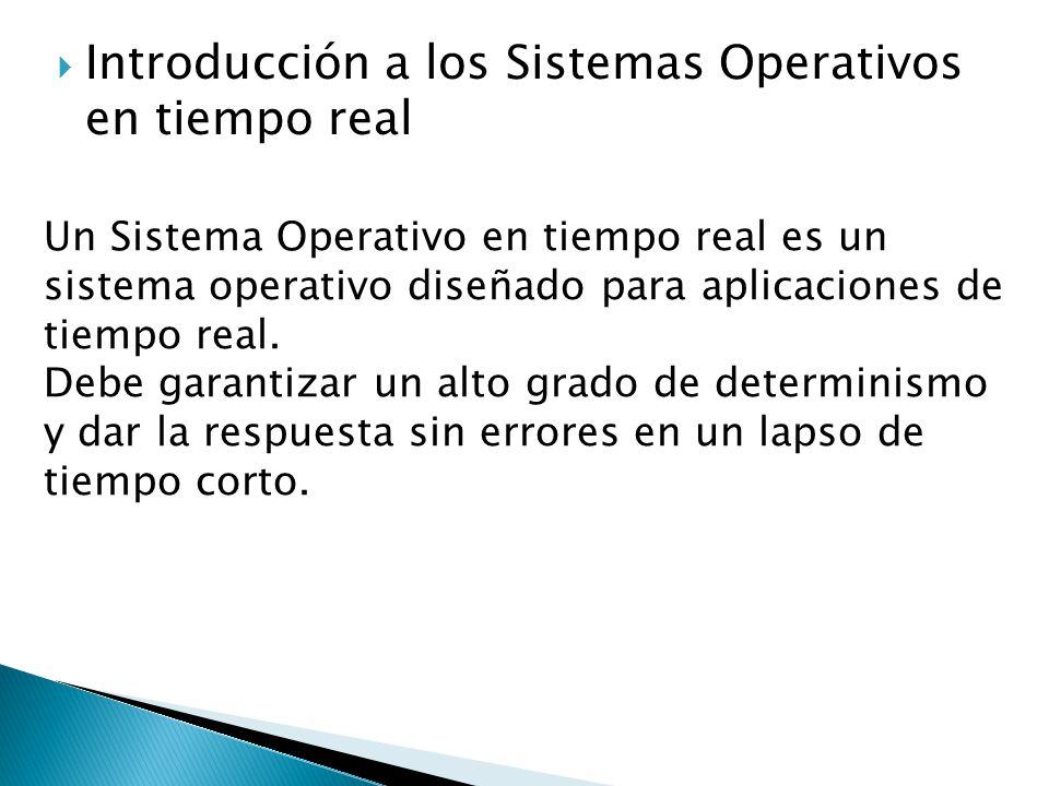Introducción a los Sistemas Operativos en tiempo real Un Sistema Operativo en tiempo real es un sistema operativo diseñado para aplicaciones de tiempo