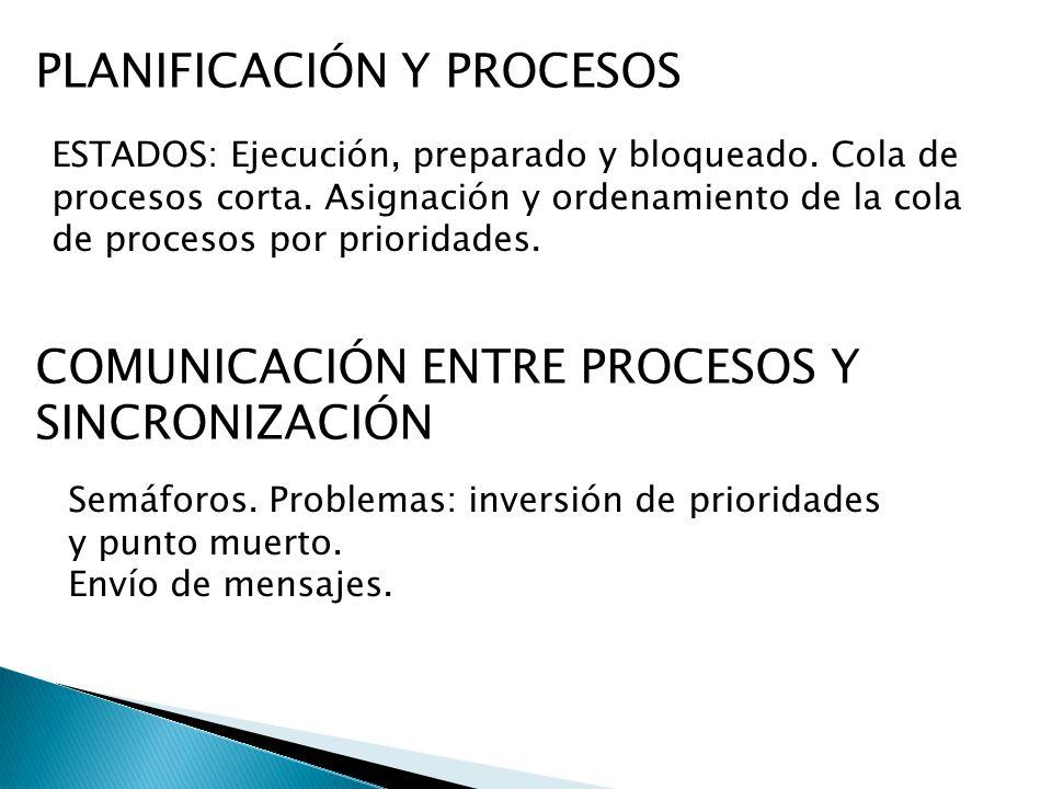 PLANIFICACIÓN Y PROCESOS ESTADOS: Ejecución, preparado y bloqueado. Cola de procesos corta. Asignación y ordenamiento de la cola de procesos por prior