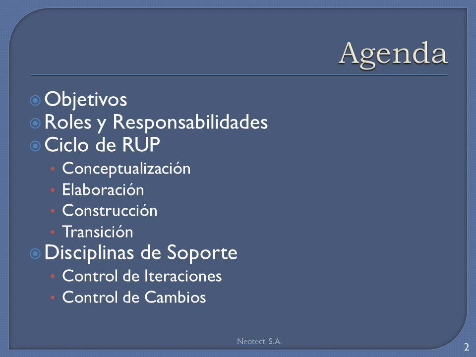 Objetivos Roles y Responsabilidades Ciclo de RUP Conceptualización Elaboración Construcción Transición Disciplinas de Soporte Control de Iteraciones C