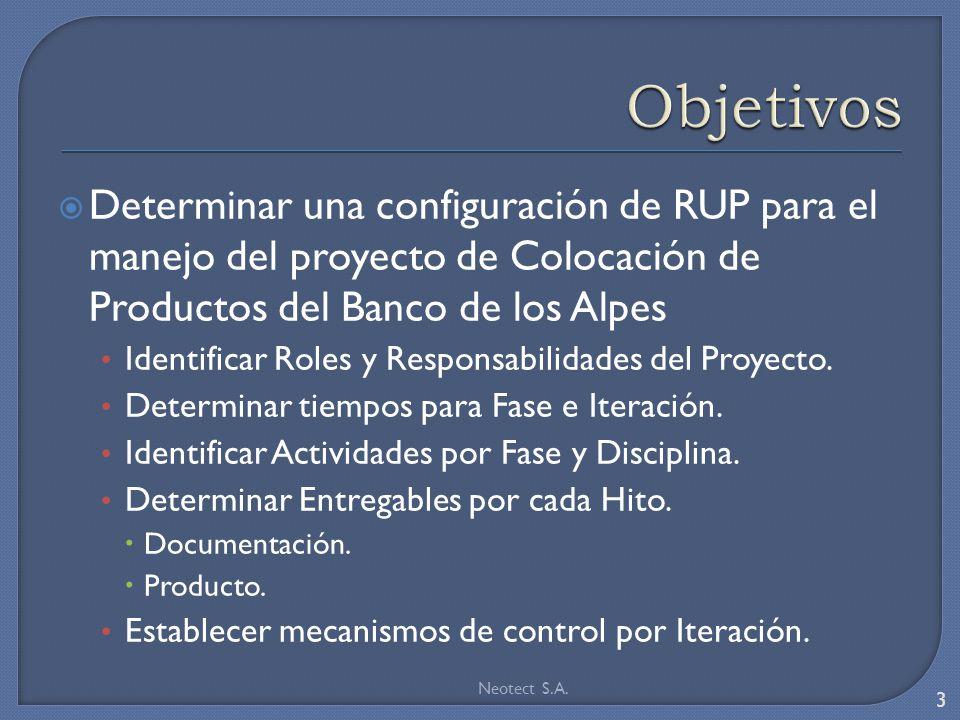 Determinar una configuración de RUP para el manejo del proyecto de Colocación de Productos del Banco de los Alpes Identificar Roles y Responsabilidade