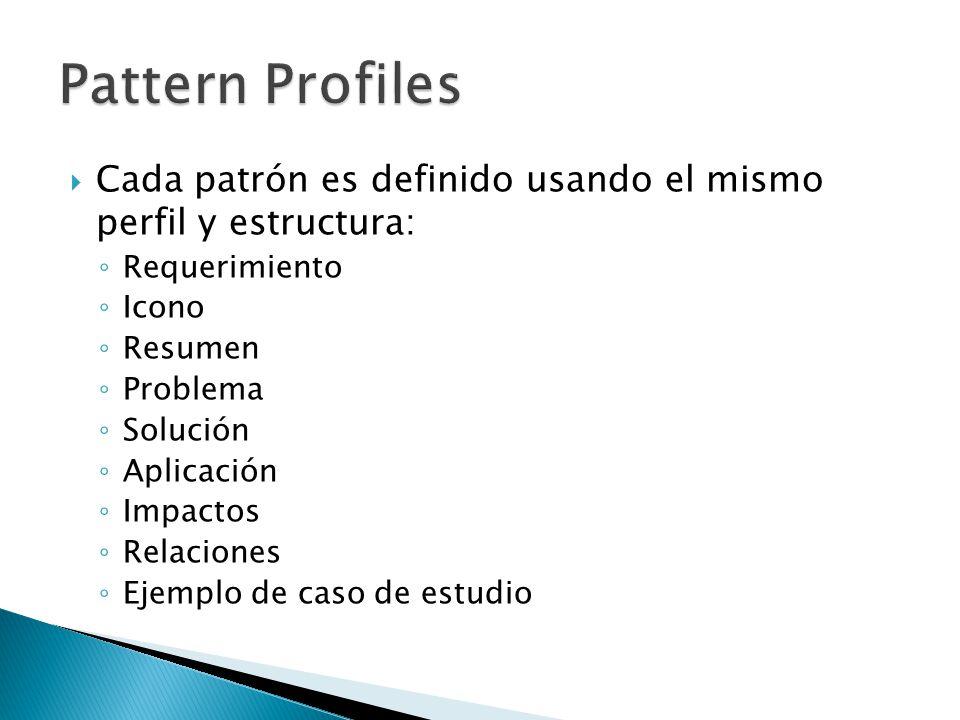 Cada patrón es definido usando el mismo perfil y estructura: Requerimiento Icono Resumen Problema Solución Aplicación Impactos Relaciones Ejemplo de caso de estudio