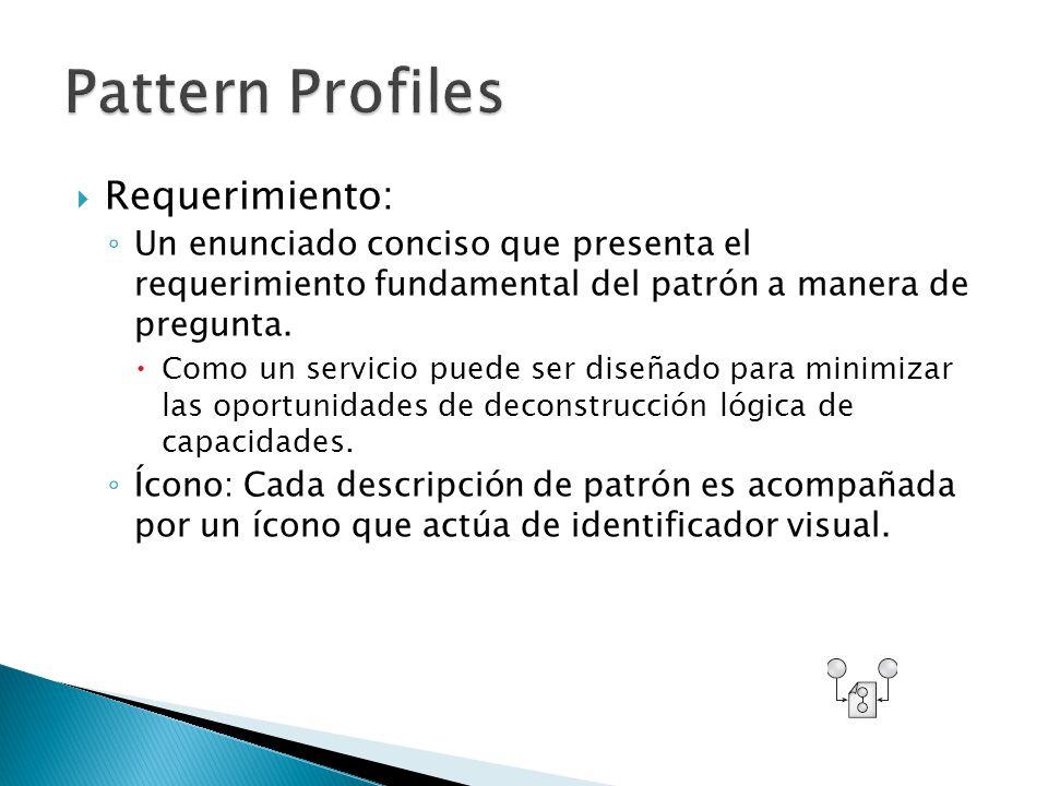 Requerimiento: Un enunciado conciso que presenta el requerimiento fundamental del patrón a manera de pregunta.