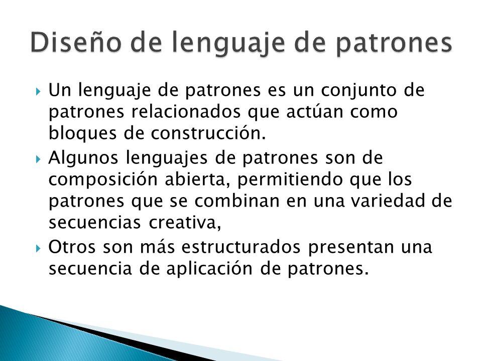 Un lenguaje de patrones es un conjunto de patrones relacionados que actúan como bloques de construcción.