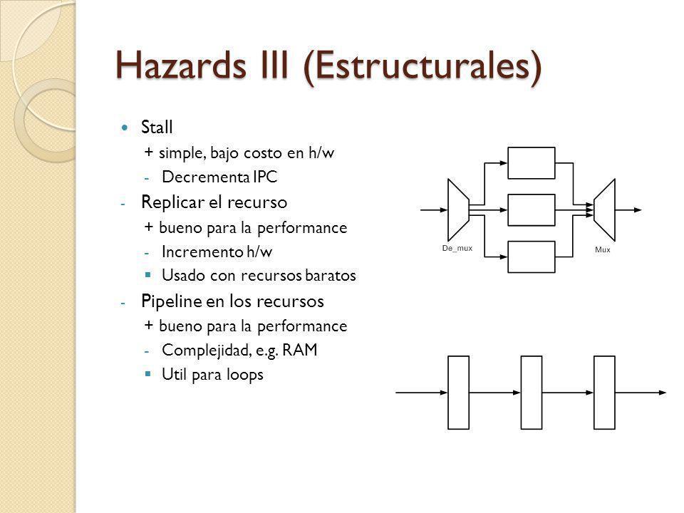Hazards III (Estructurales) Stall + simple, bajo costo en h/w -Decrementa IPC - Replicar el recurso + bueno para la performance -Incremento h/w Usado